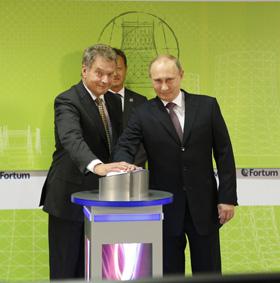 Niinistö ja Putin Nyaganin voimalaitoksen avajaisissa